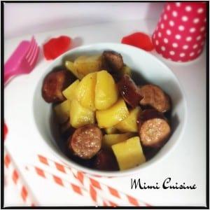 Saucisses fumées et ses pommes de terre sauce carré frais et moutarde miel balsamique